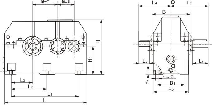 Ц2У-315Н схема редуктора